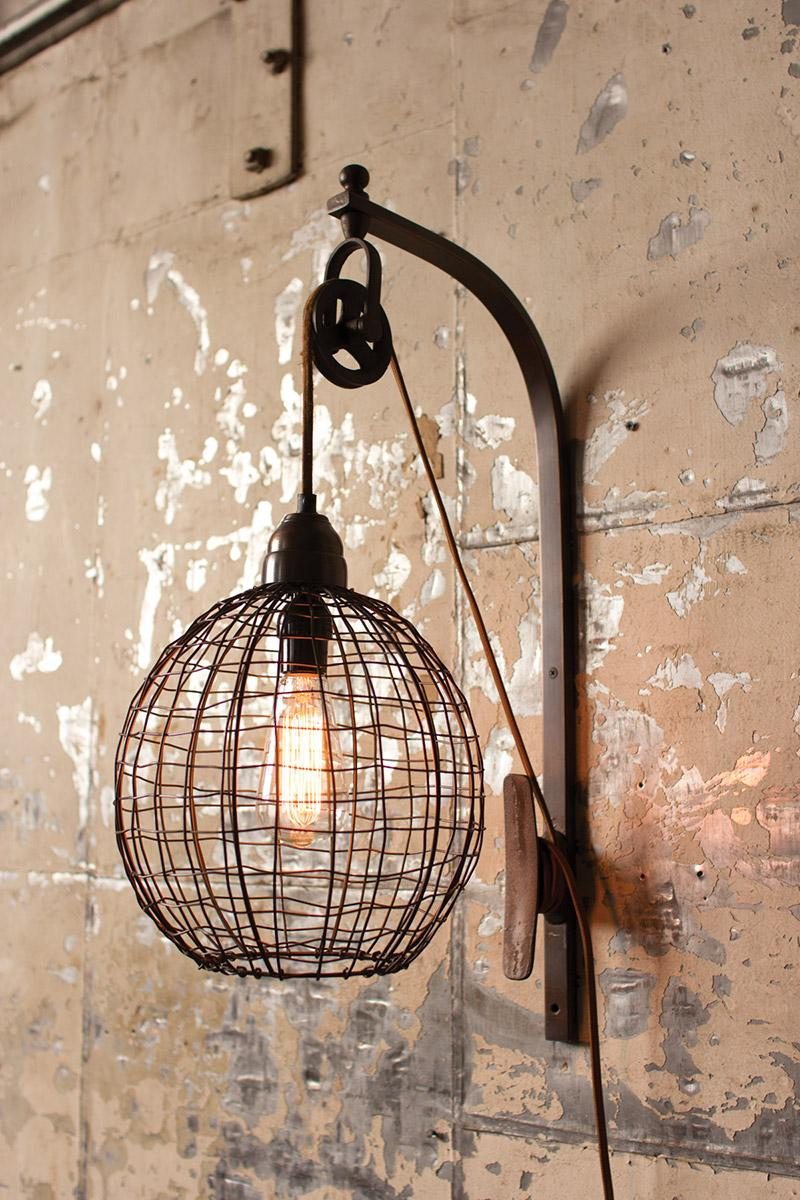 wire sphere wall sconce with pulley