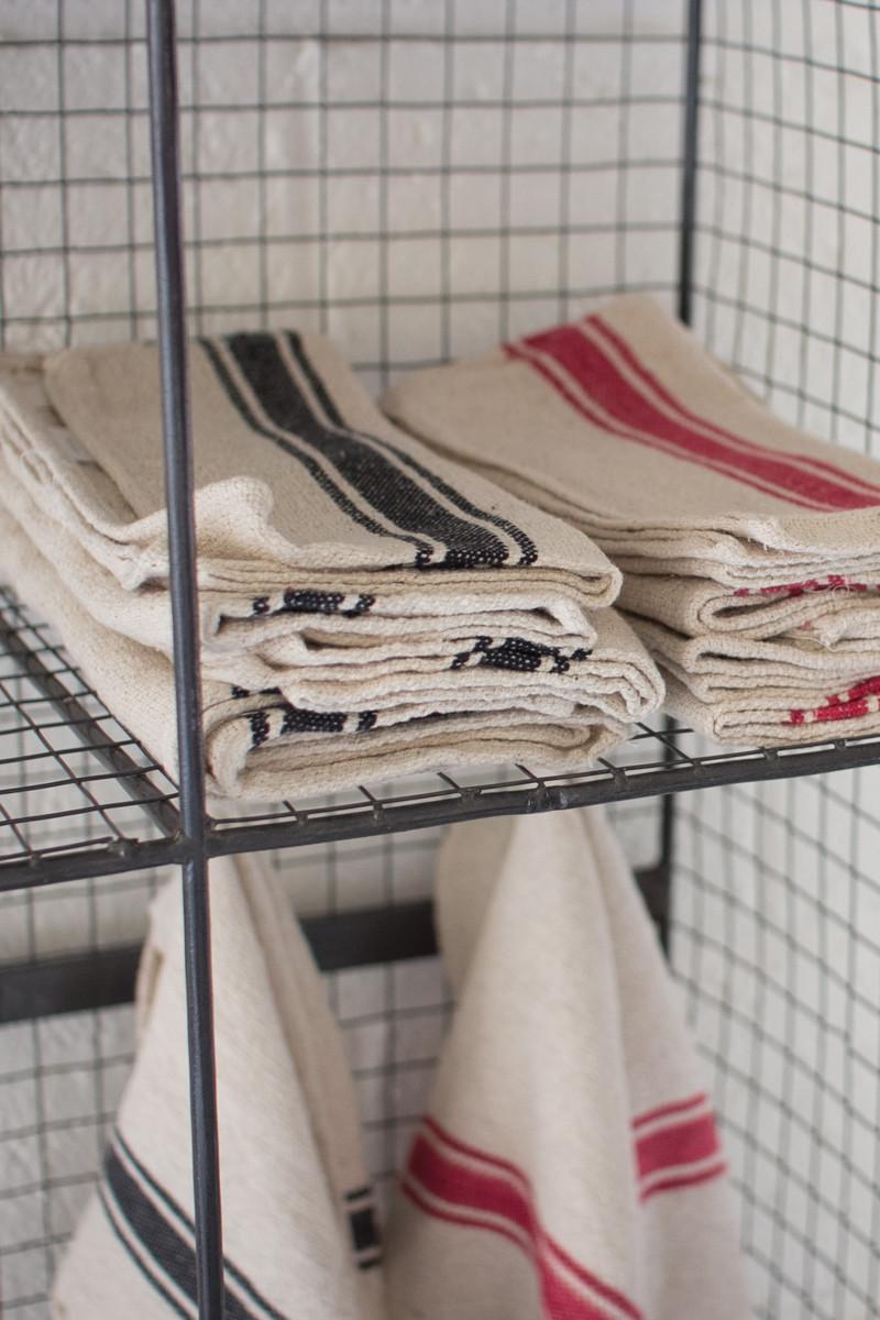 set of 6 cotton kitchen towels / black stripe