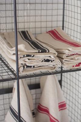 set of 6 cotton kitchen towels / red stripe