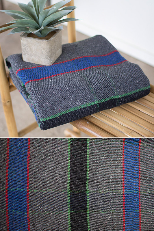 grey with multi colored cotton universal blanket