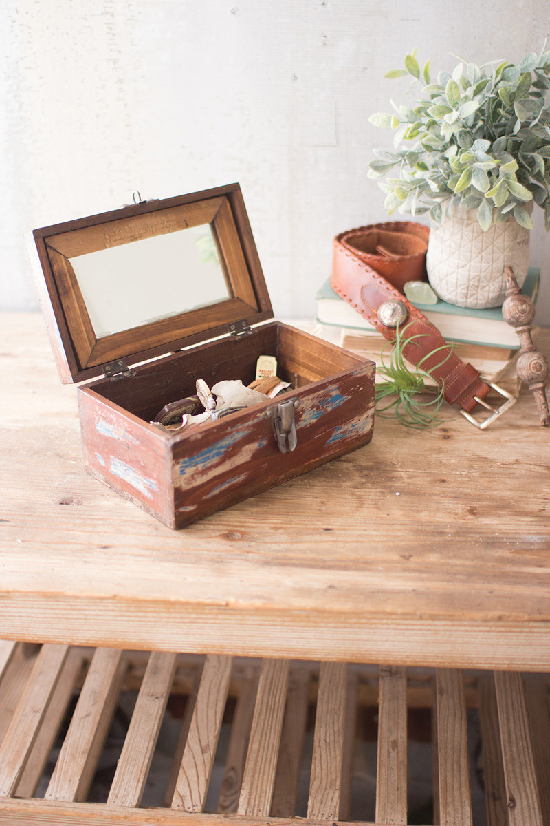 WOOD VAINTY BOX WITH MIRROR