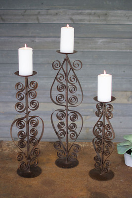 RUSTIC METAL CANDLE STANDS