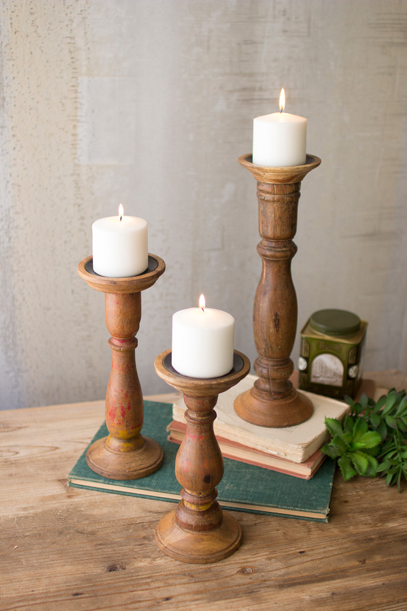 TURNED WOODEN CANDLE STANDS