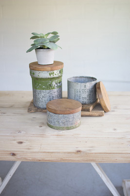 Set Of 3 Repurposed Military Canisters With Wooden Tops