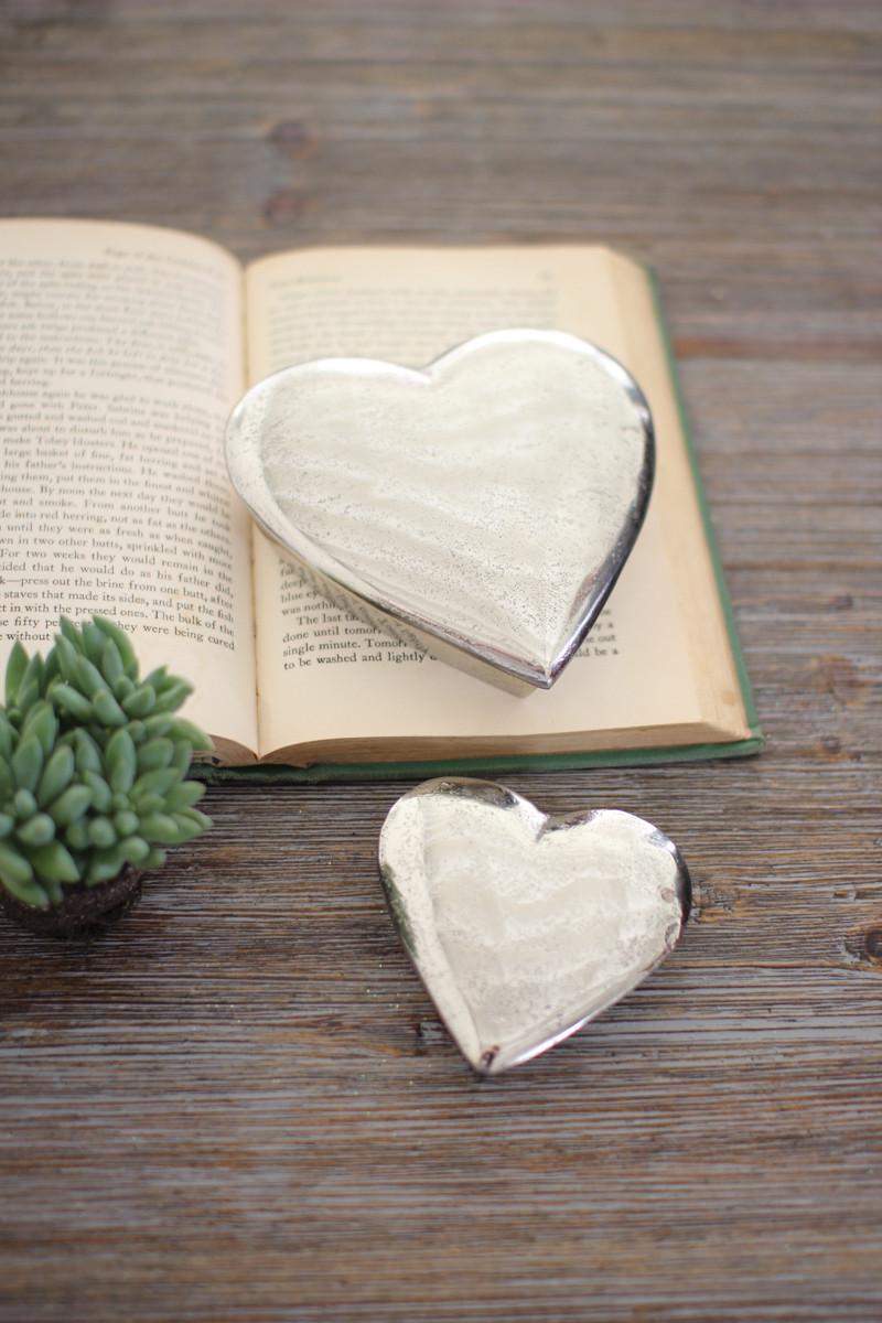 SET OF TWO CAST ALUMINUM HEART BOXES - ANTIQUE SILVER
