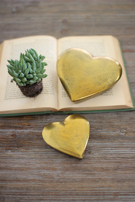 SET OF TWO CAST ALUMINUM HEART BOXES - ANTIQUE GOLD