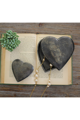 SET OF TWO CAST ALUMINUM HEART BOXES - ANTIQUE BLACK