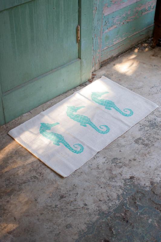 three blue seahorses cotton rug