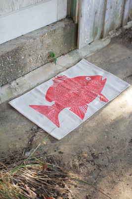 red fish cotton rug
