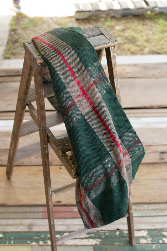plaid red and green cotton blanket