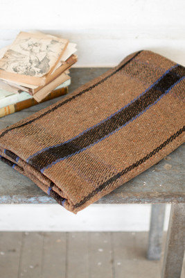 brown and blue plaid blanket