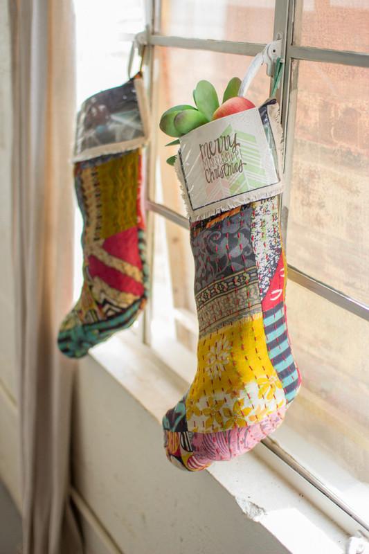 vintage kantha fabric stocking