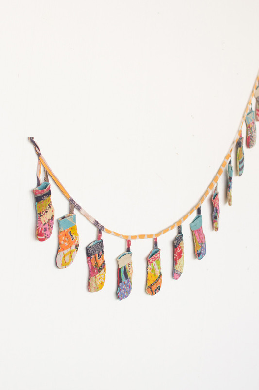 recycled kantha christmas garland