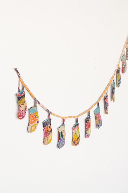 recycled kantha christmas garland