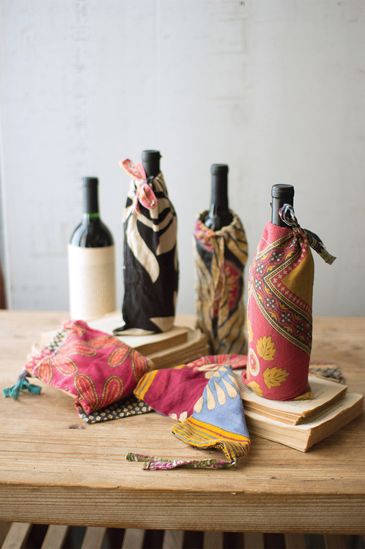 Set of 6 Recycled Kantha Wine Pouches
