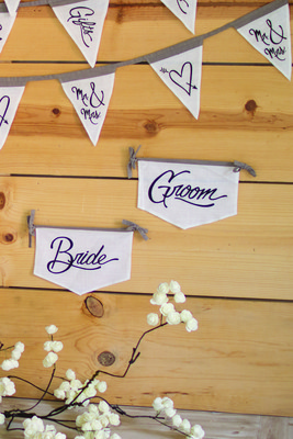 bride and groom chair flags
