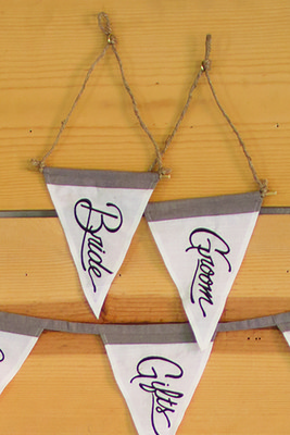 bride and groom pennant flags