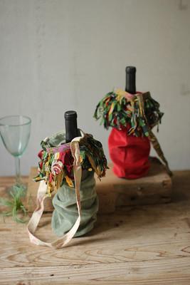 Set of 6 Velvet Wine Bags with Recycled Kantha Fringe