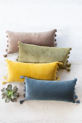 Lush Velvet Lumbar Pillow - Cobblestone