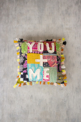 """Recycled Kantha """"You + Me"""" Pillow with Tassels"""