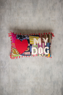 """Recycled Kantha """"Love My Dog"""" Pillow with Tassels"""