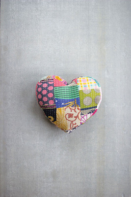Recycled Kantha Heart Shaped Pillow