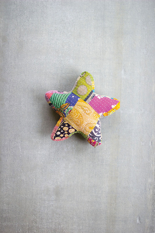 Recycled Kantha Star Shaped Pillow