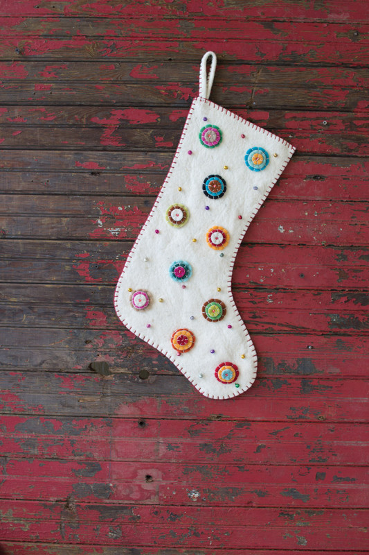 FELT STOCKING - IVORY WITH BUTTON
