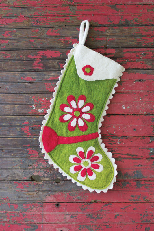 FELT STOCKING - GREEN FLOWER