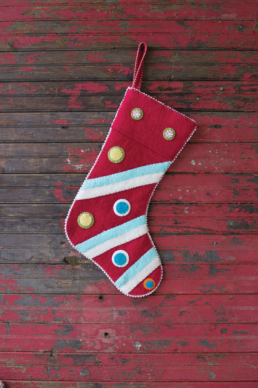 FELT STOCKING - RED WITH FELT DOTS