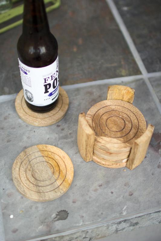 set of 6 mango wood coasters