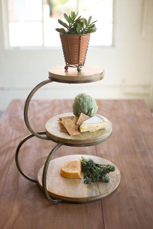 mango wood iron serving stand