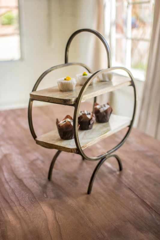 mango wood and iron serving stand