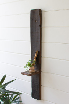 tall recycled wood wall shelf