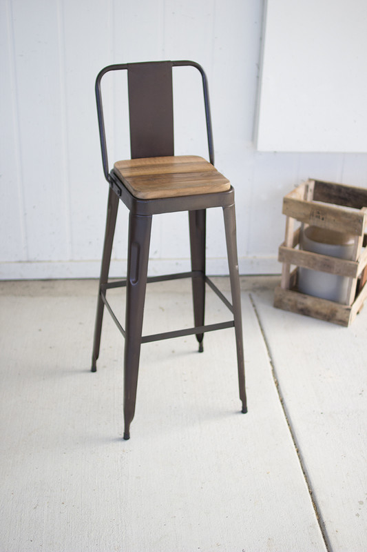 iron bar stool with recydled wooden