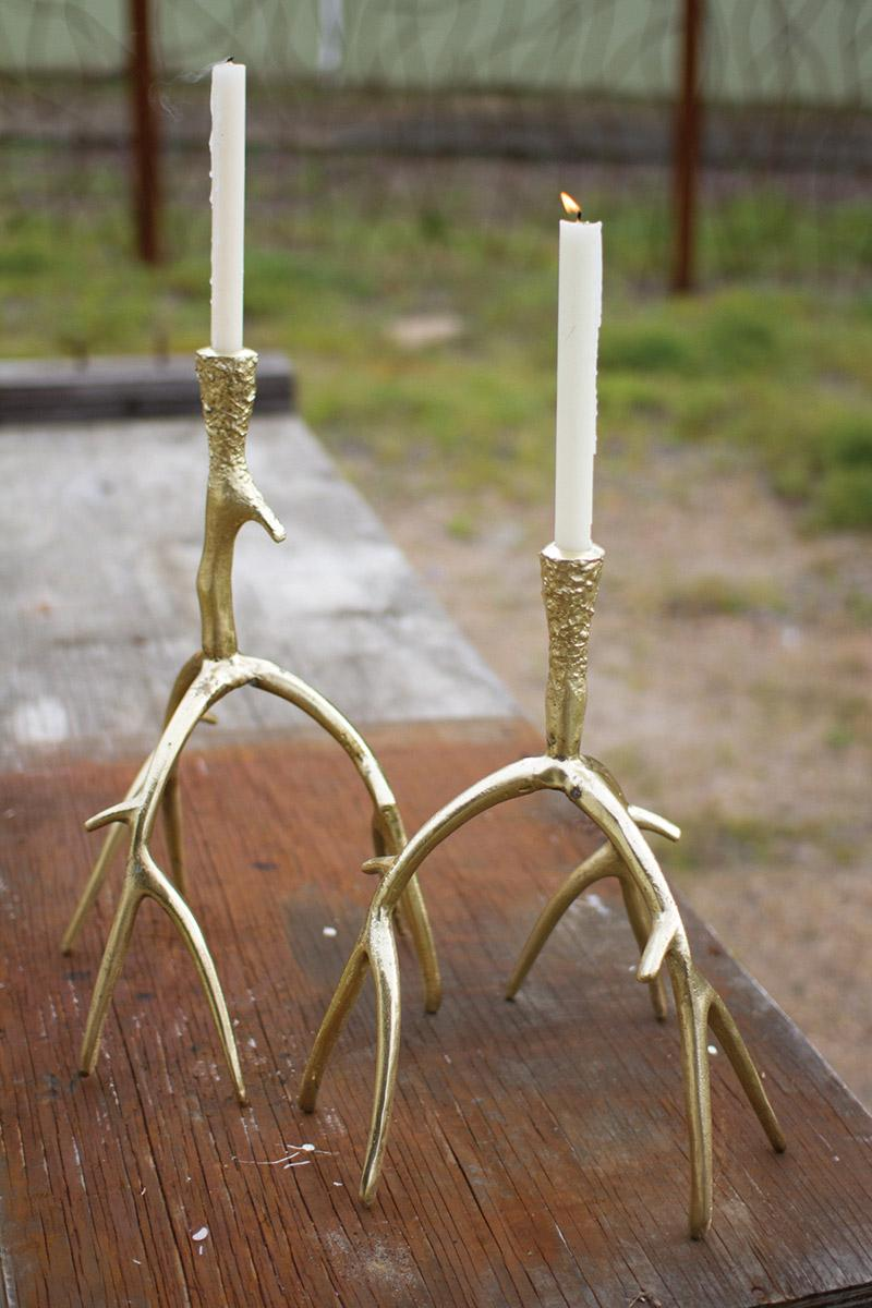 set of 2 cast aluminum antler taper candle holders - antique silver