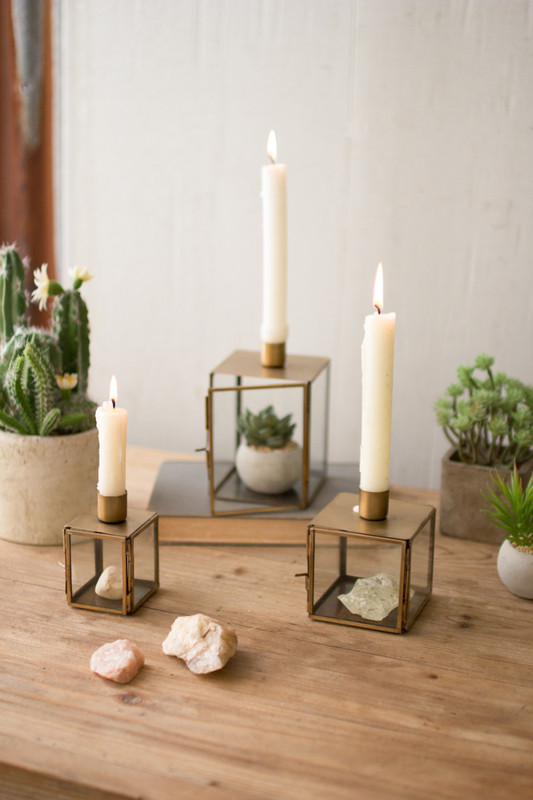 brass terrarium candle holder