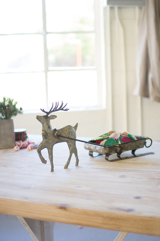 GALVANIZED DEER WITH SERVING CART