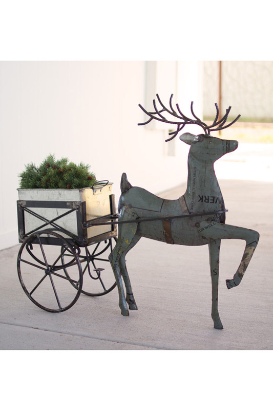 metal deer with drink tub cart