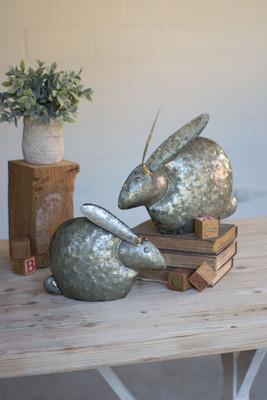 antique galvanized rabbits