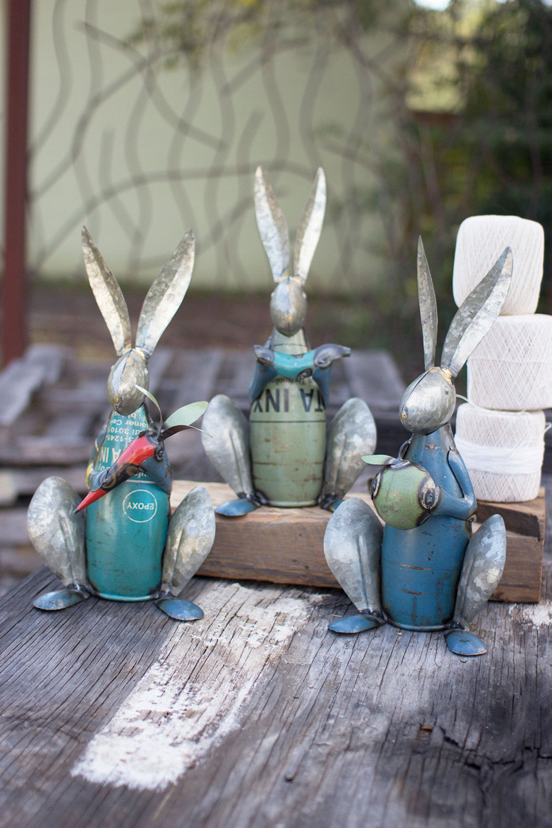 recycled metal rabbits