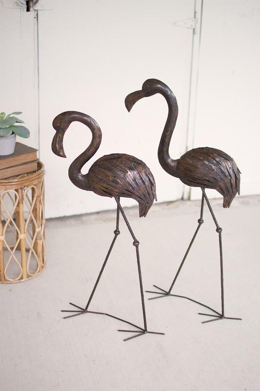 rustic drip weld flamingos
