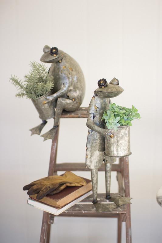 galvanized frog planters