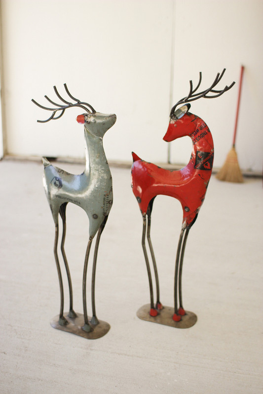 Set of 2 Recycled Iron Painted Deer