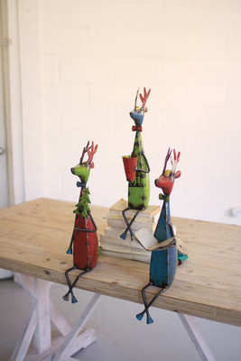 Set of 3 Recycled Iron Holiday Deer Shelf Sitters