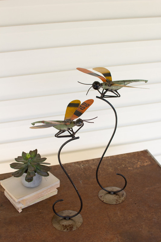 Set of 2 Recycled Metal Dragonflies on Stands