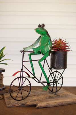 Recycled Iron Frog on a Bicycle with Flowerpot