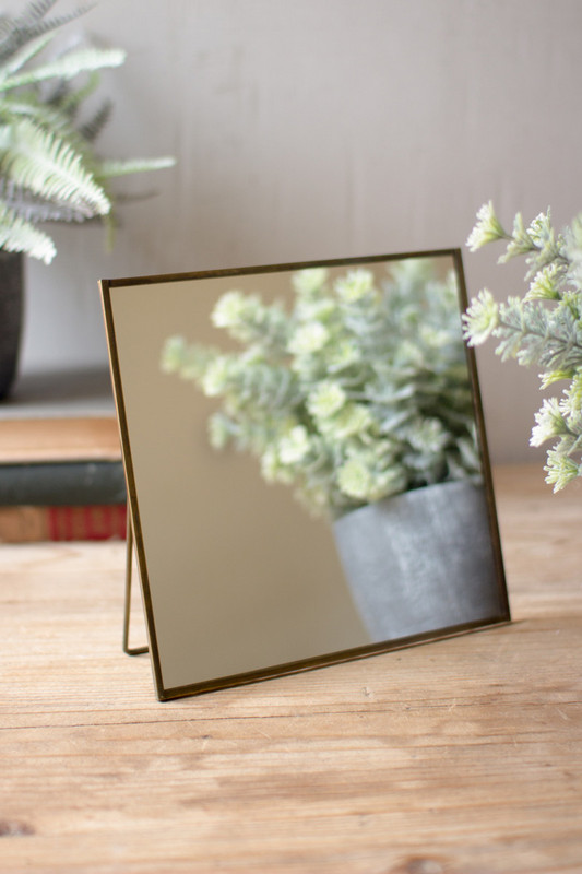 square mirror with wire stand