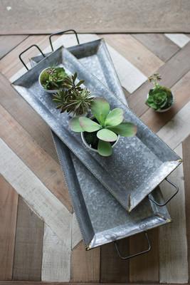 set of 2 zinc trays with brass detail