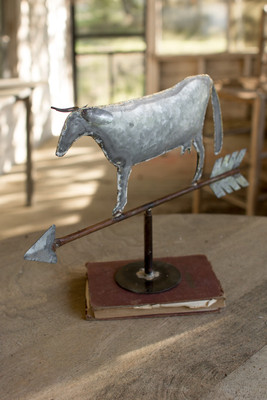 table top zinc weathervane cow
